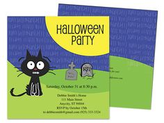Fraidy Cat RIP halloween party invitation template