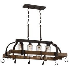 Clear seedy glass adds to the industrial inspired look of this bronze pot rack chandelier. Canopy is 13 wide x 4 deep x 2 high. Style # at Lamps Plus. Kitchen Island Pot Rack, Kitchen Island Chandelier, Rustic Kitchen Lighting, Kitchen Lighting Fixtures, Light Fixtures, Pot Hanger Kitchen, Farmhouse Kitchen Island, Kitchen Rack, Kitchen Pantry