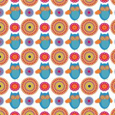 owl medallions fabric by vo_aka_virginiao on Spoonflower - custom fabric