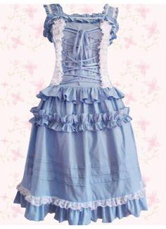 Elegant Blue Cotton Sleeveless Front Bandage Punk Lolita Dress