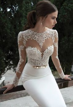 Long Sleeve Sheer Lace Boho Wedding Dress Beach Gown Vintage Rustic Backless