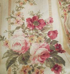 1920's cotton yardage , roses. English interior fabric.