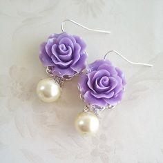 Purple earrings Lavender flower Earrings Purple rose Earrings Thank you card Bridesmaid gift Floral Jewelry Dangle earrings Pearl earrings Purple Earrings, Flower Earrings, Beaded Earrings, Earrings Handmade, Beaded Jewelry, Handmade Jewelry, Pearl Earrings, Bridesmaid Earrings, Polymer Clay Earrings
