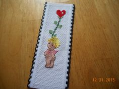 cross stitch bookmark cupid available in etsy shop DebbyWebbysCards