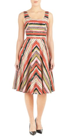 A wide seamed empire waist cinches in our vibrant stripe dress, styled with a fitted bodice and a flared chevron skirt. Flattering Dresses, Trendy Dresses, Simple Dresses, Nice Dresses, Casual Dresses, Summer Dresses, Sleeveless Dresses, Fall Dresses, Mode Chic