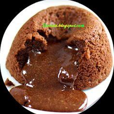 LAVA CAKE with All-Purpose Flour, Butter, Eggs, Sugar, Dark Chocolate, Chocolate, Vanilla Essence.