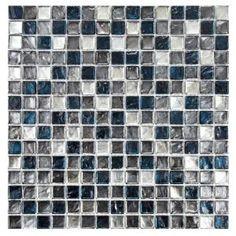 Merola Tile Illuvia Square Chromium 12 in. x 12 in. Glass Mosaic Wall Tile