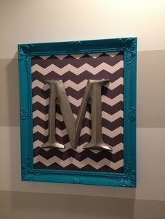 Recently Rimini: The Twin's Nursery grey chevron wall art with the baby's initial framed in teal