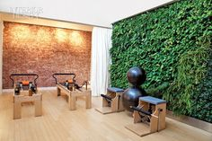 Interior Design Pilates Studio- incredible living wall More - Emily Edwards - - Interior Design Pilates Studio- incredible living wall More - Emily Edwards Yoga Studio Design, Yoga Studio Interior, Gym Interior, Gym Design, Wall Design, Fitness Design, Pilates Studio, Interior Design Magazine, Wellness Studio
