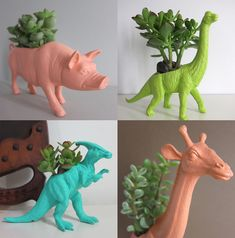 This animal planters should be a requirement for any hipster home. Recycled Planters, Recycled Toys, Diy Planters, Succulent Planters, Succulents, Hipster Home, Plastic Animals, Old Toys, Pots