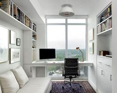 Small Home Office Furniture, Home Office Space, Home Office Design, Home Office Decor, Office Designs, Small Office, Corner Office, Cozy Home Office, White Office