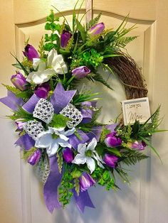 Spring Grapevine Wreath Tulip Wreath Easter Lilies Wreath I