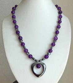 Purple & hematite heart pendant necklace