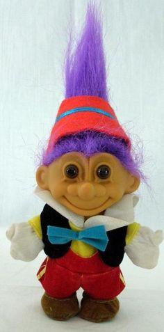 "Russ Pinocchio Purple Hair Troll 4"" Tall #Russ #DollswithClothingAccessories"