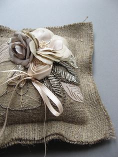 Ring pillow, Ring bearer, Wedding ring pillow, burlap weddings, Ivory, Natral, Beige, Antiqued silver woody shabby chic weddings