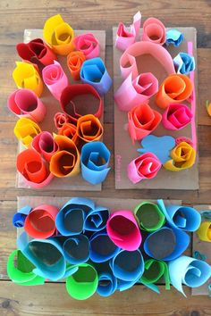 Might be a good use for the glue gun. Preschoolers make rolled paper sculptures ~ great art project for fine motor skills and problem solving Preschool Art Projects, Paper Crafts For Kids, Art Activities, Projects For Kids, Arts And Crafts, Clay Projects, Arte Elemental, Sculpture Art, Paper Sculptures