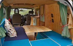 Inside Toyota Hiace camper conversion