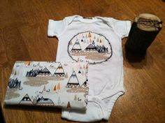 Indian Summer Onesie and Burp Cloth Set by QPDollKids on Etsy