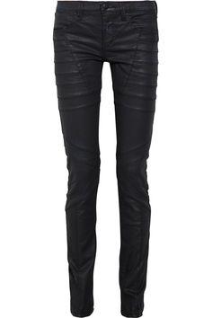 Coated skinny biker jeans by Hervé Léger
