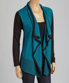 Loving this Black & Peacock Mixed Media Cascade Open Cardigan on #zulily! #zulilyfinds