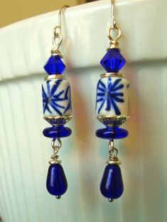 Silver wire cobalt/white ceramic bead, cobalt glass beads dangle earrings. FOR SALE. Please visit my ebay page to see all of my earrings for sale: www.ebay.com/...?::