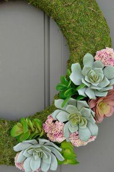 Succulent Moss Spring Wreath