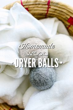 Homemade wool dryer balls that are easy to make. A natural way to shorten drying time, reduce static and wrinkles, and soften clothes.