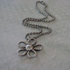 Precious Metal Petals Handmade Silver Necklace - Flower was made using fine silver metal clay.  It is one of a kind and available for sale in my Etsy shop.