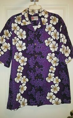 Hilo Hattie Purple Floral White Hibiscus Hawaiian Shirt Coconut Buttons XL | Clothing, Shoes & Accessories, Men's Clothing, Casual Shirts | eBay!