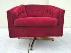 Mid-Century Modern Milo Baughman Style Barrel Back Swivel Lounge Chair