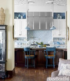 Pretty blue and white kitchen featured in House Beautiful