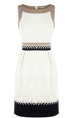 Karen Millen Colourblock Dress With Lacing Cream & Multi - suit-dresses.com - $80.71