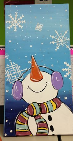 Snowman sign home decor by craftsbydaniellelee on Etsy – Winterbilder Christmas Paintings On Canvas, Christmas Canvas, Christmas Art, Christmas Decorations, Christmas Cookies, Easy Canvas Painting, Winter Painting, Diy Painting, Winter Art Projects