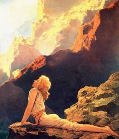 Maxfield Parrish. Pretty positive I have felt exactly this way before.