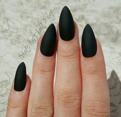 Matte / Glossy Black Press on Fake Nails Stiletto by ExhaleHate