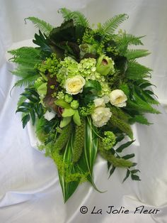 Wedding bouquet- Bridal Bouquet- green leaves with white roses -cascading bouquet style