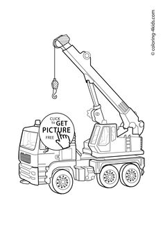 Hoisting crane Transportation Coloring page for kids, printable