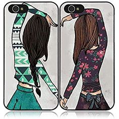 New Happy Girls Best Friends BFF Pair Case Cover for iPhone 6/6S
