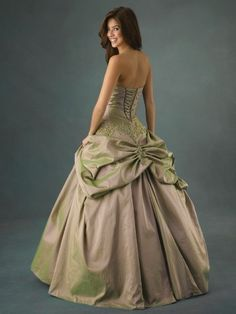 Love the ball room style. Shot silk with hues of green.