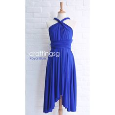 Bridesmaid Dress Infinity Dress Royal Blue Knee Length Wrap... ($35) ❤ liked on Polyvore featuring dresses, vestidos, grey, women's clothing, wrap maxi dress, infinity dress, floor length dresses, convertible bridesmaid dress and women dresses
