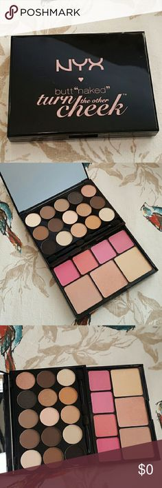 NYX Butt Naked Turn the Other Cheek Eyeshadow and face palette by NYX. 15 sultry and seductive eyeshadows 4 matte and pearl blushes and 3 pearlescent face illuminators. Middle light illuminator was swatched. Otherwise it is unused. No box. NYX Makeup Eyeshadow