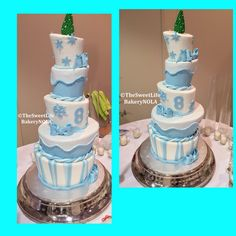 5 tier topsy turvy snowflake winter themed custom  bday cake  by The Sweet Life Bakery New Orleans www.nolasweetlife.com email info@nolasweetlife.com (504)371-5153 #nolasweetlife @nolasweetlife #70124