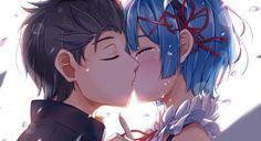 kiss natsuki subaru et rem maid re:zero kara hajimeru isekai seikatsu fanart dessin hasaya...
