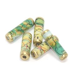 Recycled Map paper beads by GillianMcMurray on Etsy
