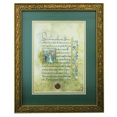 First Corinthians (the greatest of these is love) framed print using the look and technique of ancient illuminated manuscripts.