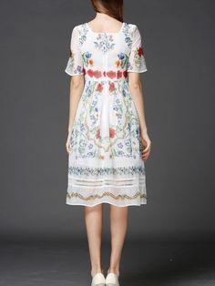 Floral-print Chiffon Midi Dress
