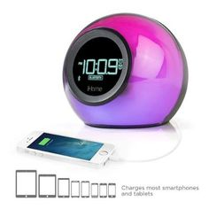 Here we have the Bluetooth Color Changing Dual Alarm Clock FM Radio with USB Port~iHome iBT29BC. The iBT29 is a Bluetooth-enabled alarm clock with a d...