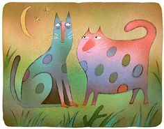 cats by adolf born. Cartoon Knight, Cat Sketch, Children's Book Illustration, Animal Illustrations, Cat Colors, Cat Paws, Types Of Art, Doodle Art, Illustrators