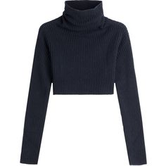 Valentino Cropped Turtleneck Pullover ($710) ❤ liked on Polyvore featuring tops, sweaters, blue, turtleneck sweater, blue crop top, blue turtleneck sweater, cropped turtleneck and pullover sweaters