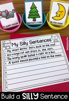 Silly Sentences Writing StationYou can find Sentence writing and more on our website. Kindergarten Writing Activities, Kindergarten Lesson Plans, Art Therapy Activities, Teaching Writing, Montessori Activities, Preschool, 1st Grade Writing, First Grade Reading, Silly Sentences